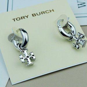 Tory Burch Glossy Silver Logo Pendant Earrings